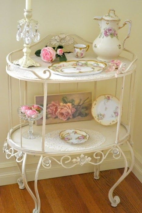 Vintage Shabby chic tea trolley shelves. Love this as a bathroom storage shelf or as a hall display table . So pretty and vintage Anna www.melodymaison.co.uk