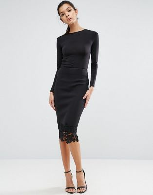 ASOS Pencil Skirt in Scuba with Lace Hem