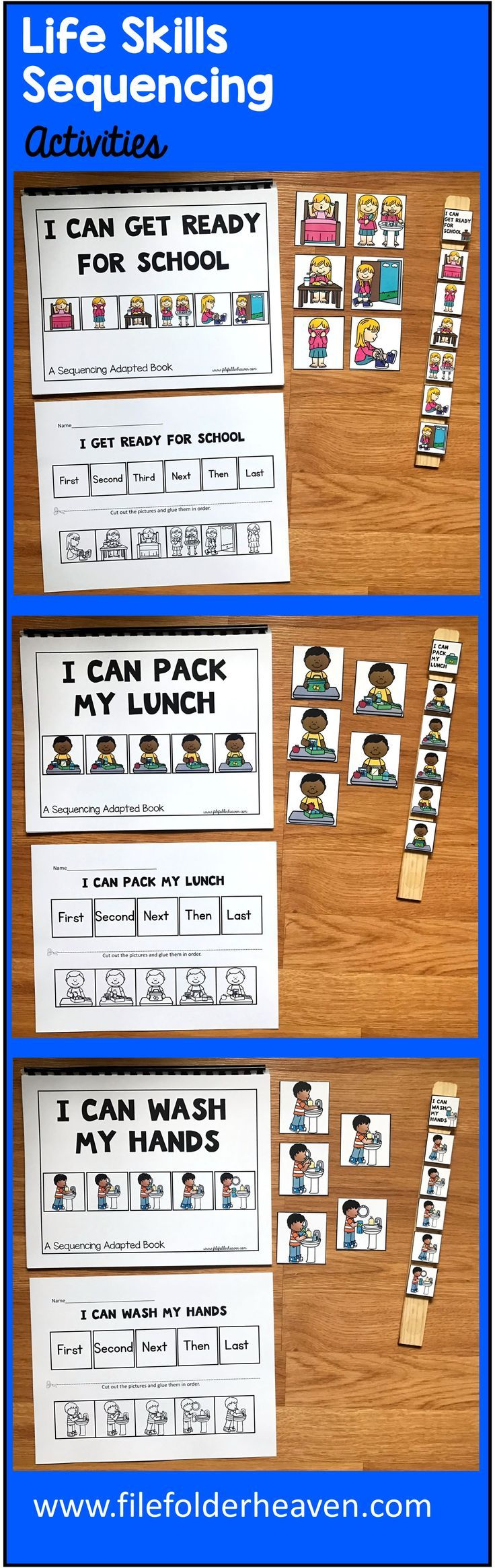 These Life Skills Sequencing Activities include 5 Adapted Books, 5 accompanying worksheets, and 5 sets of visuals for task analysis. Each of the Adapted Books teaches a simple 5 or 6 sequence step life skill or daily living skill.  Adapted Books Included:    I Can Get Ready for School I Can Pack My Lunch I Can Wash My Hands I Can Get Ready for Bed I Can Cross the Street