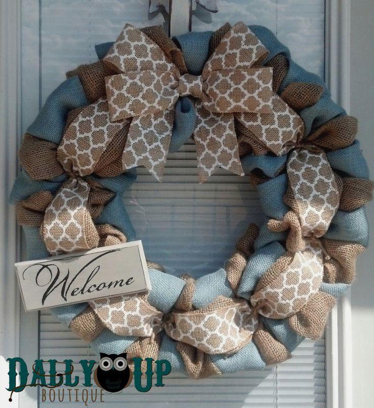 Fall Burlap Wreath - Summer Burlap Wreath - Country Blue , Cream Burlap Wreaths, Wreath for All Year, Welcome Wreath, Blue Burlap Wreath by DallyUpBoutique on Etsy