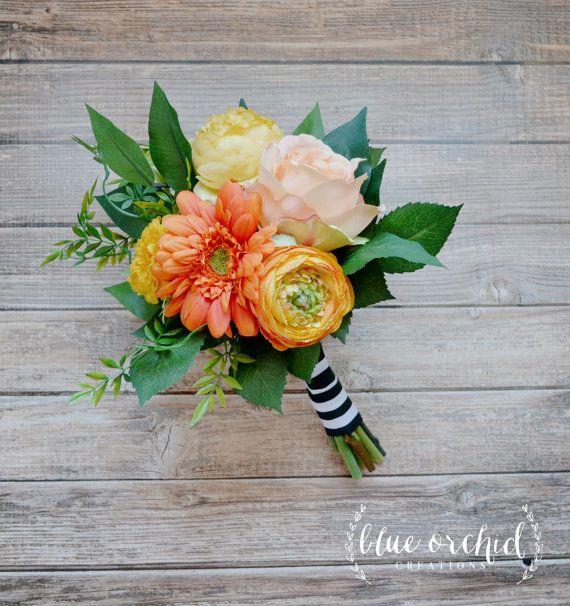 Petite, Fall Bridesmaid Bouquet - Bundle Style Bouquet, Small Bridesmaid Bouquet, Orange, Yellow, Autumn, Rustic Bouquet