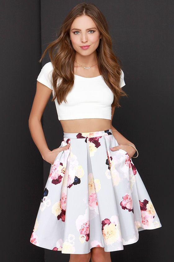 Keepsake Divide Light Grey Floral Print Midi Skirt at Lulus.com!  This is so beautiful.