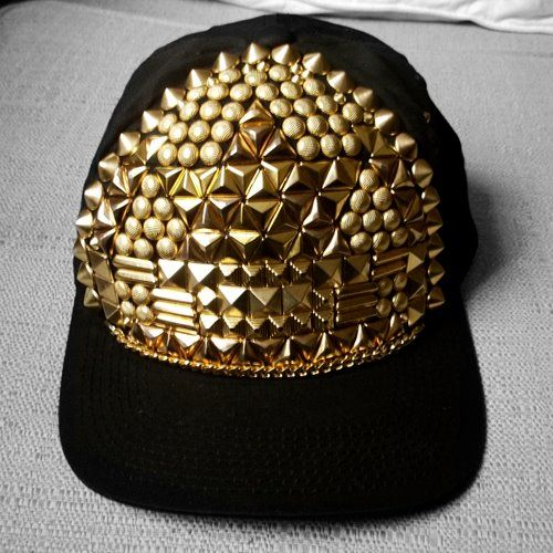 // gotta have itFashion, Head Of Garlic, Style, Gold Spikes, Studs Muffins, Black Gold, Gold Studs, Basebal Cap, Bling Bling
