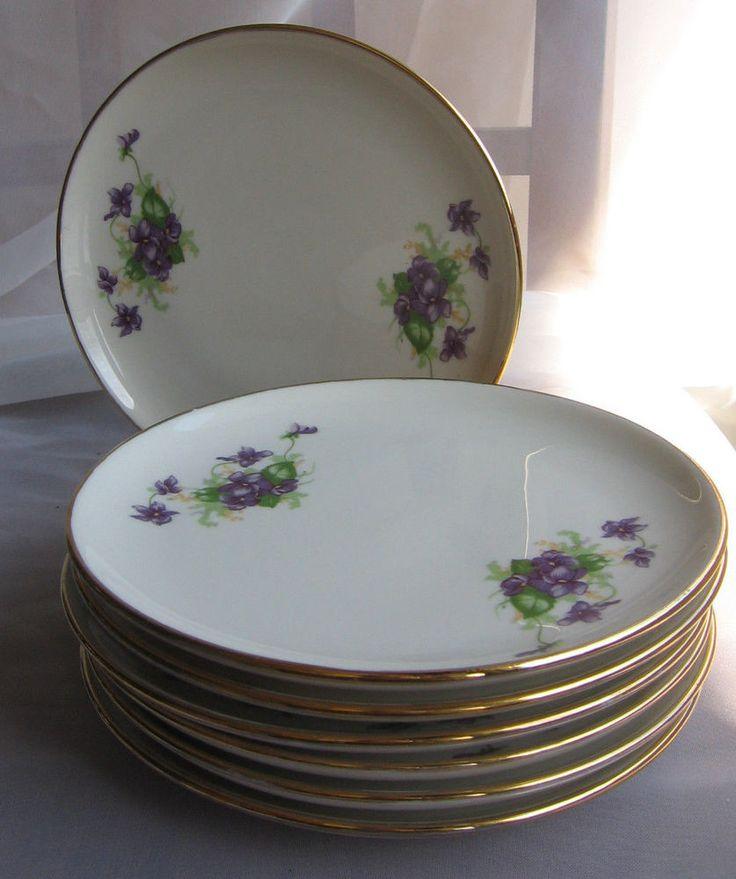 "Violets Flower SYRACUSE Gold Trim Side Plates LOT 7 EXC Cond VTG Purple 6.5"" #edwinknowles"
