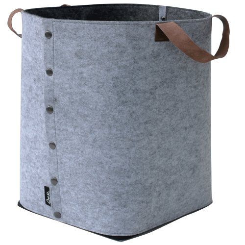 sne design felt storage basket with leather strap - grey