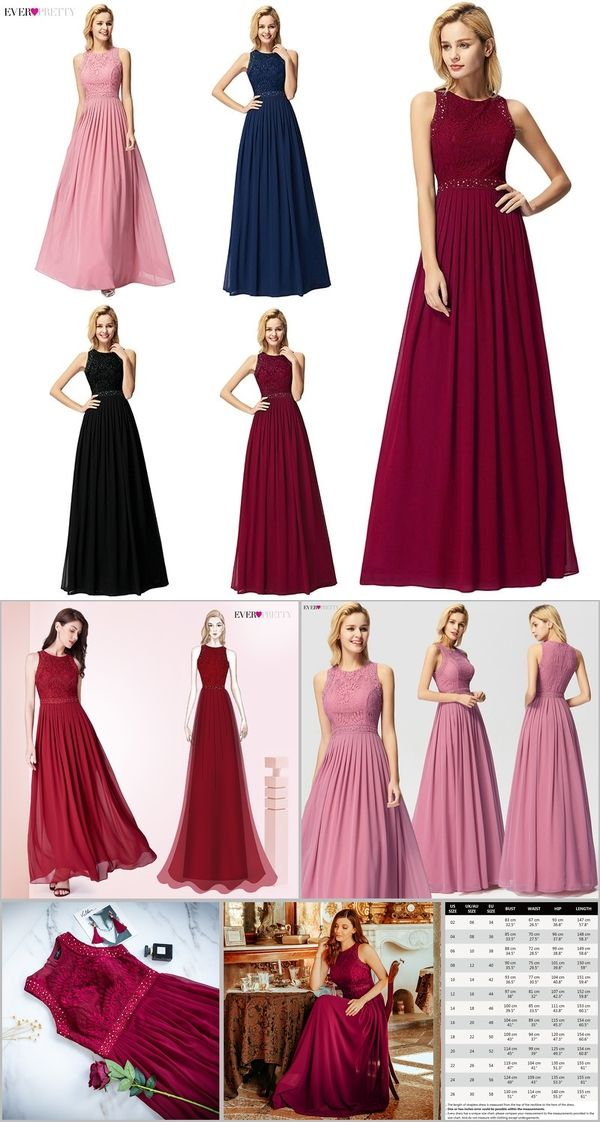 be4b599e2 Long Burgundy Prom Dresses 2019 Ever Pretty Elegant Beading A Line Pleated  Chiffon Lace Formal Party