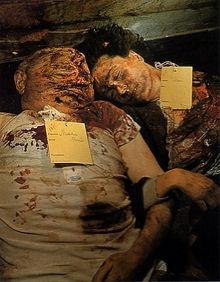 Benito Mussolini's body (left) beside that of his mistress, Clara Petacci