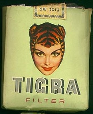 Poster - dated 1950 - for Belgian cigarette label (Royal) Tigra
