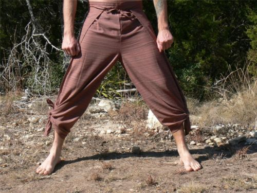 Cotton Wrap Pants Renaissance Pirate Costume Buccaneer Gypsy Striped Brown | eBay $25.99