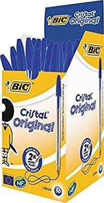 BiC Cristal Original - Pack de 50 bolígrafos de punta redonda, color azul