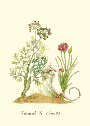 M100 Fennel And Chives A Two Bad Mice Card By Anita Jeram Fennelgarden Artilration Artbotanical