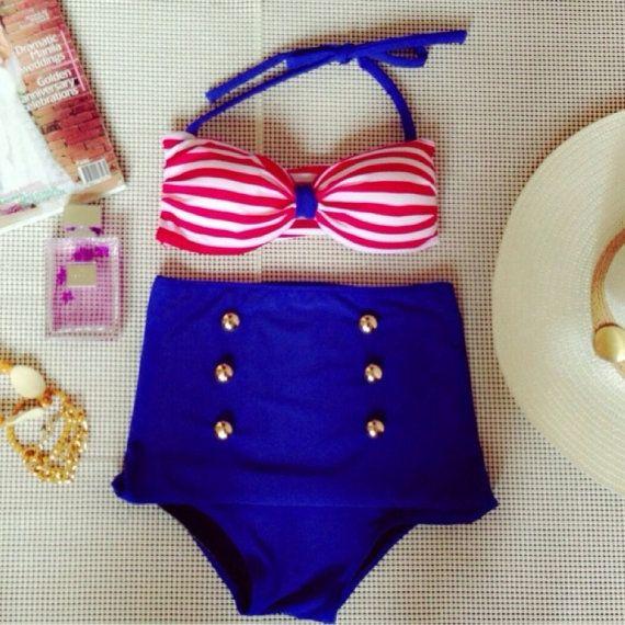 Nautical High Waisted Bikini on Etsy, $40.00