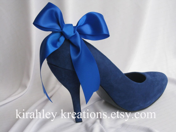 SHANI -- Large Satin Cobalt Royal Blue Bow Shoe Clips, Perfect for a Brides Something Blue on Her Wedding Day