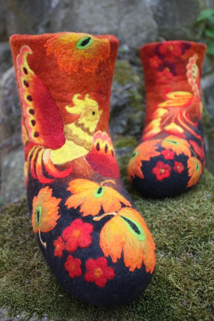 Felted Low shoes Fairy Birds Khokhloma by IrinaU on Etsy