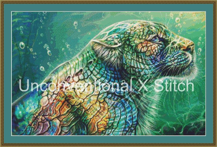 Mother of Pearl cross stitch pattern - Big Cat - modern counted cross stitch pattern Maquenda Licensed by UnconventionalX on Etsy
