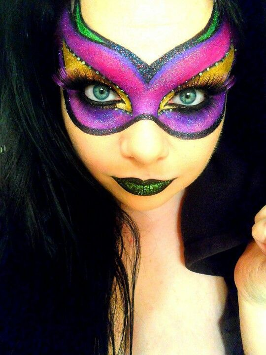 Beautiful Face-paint masquerade mask - pink, purple, green and gold