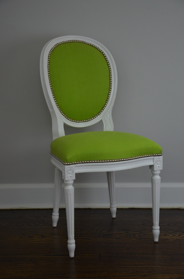 white lacquer oval back side chair upholstered in kravet lime green linen with chrome nailhead