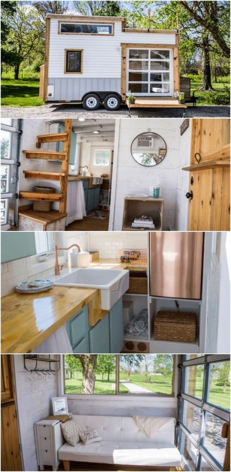 Gorgeous and Trendy 200 Square Foot Tiny House for Sale with a Copper Fridge! - This just may be one of our favorite tiny houses that we've seen and it just so happens to be for sale at a great price in Indiana! This 200 square foot home is exquisite with a trendy style and unexpected touches like a rooftop deck and a copper refrigerator that is definitely an attention-grabber.