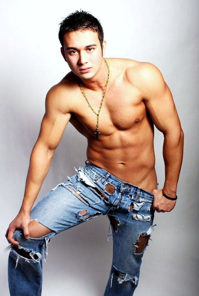 hot shirtless guy wearing rosary necklace and ripped jeans - ultra ...