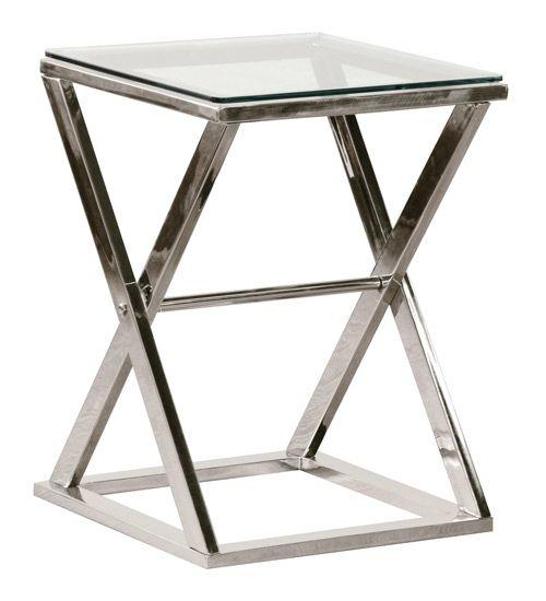 Chrome Cross Legged Glass End Table - Sweetpea & Willow London