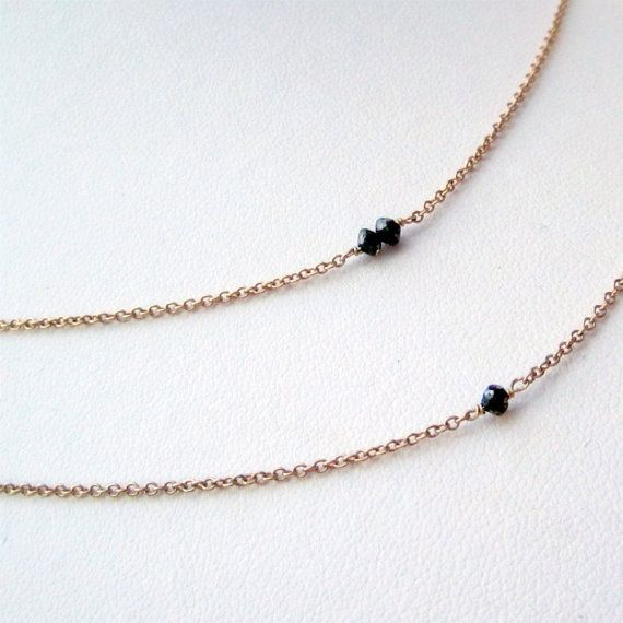 Diamond Black Diamond Necklaces with 14K Gold Filled Chain Precious Gemstone Jewelry 50th Wedding anniversary Traditional Gifts, $68.00