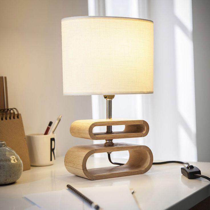 Caractéristiques techniques : Lampe à poser Oslo Matières : Base ovale en bois naturel Abat jour ovale en lin Dimensions : Hauteur totale : 30 cm ...