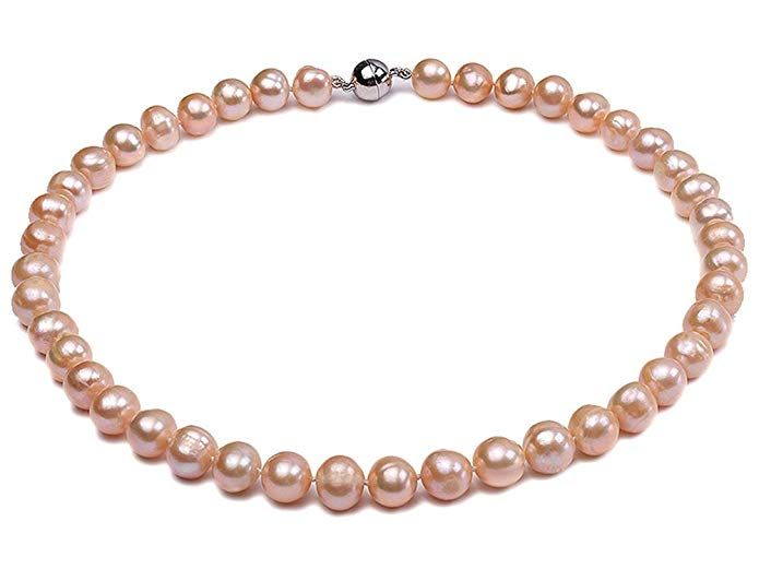 b22865b91b3cb JYX 9-10mm Round Natural Pink Freshwater Pearl Necklace 18