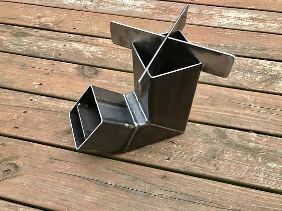 Self feeding rocket stove with removable top camping for Portable rocket stove