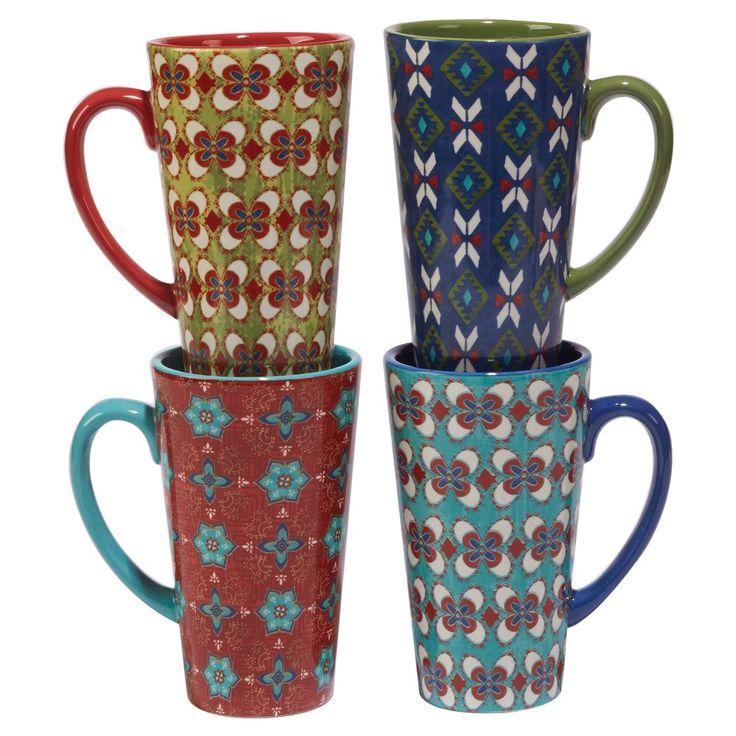 Certified International Monterrey by Veronique Charron Ceramic Latte Mugs 16oz Blue - Set of 4