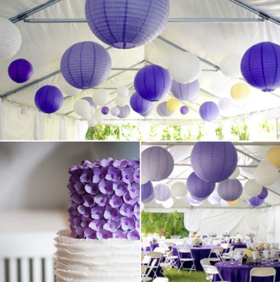 07 papierlaterne hochzeit dekoration dekoideen lila purpur blume hochzeitstorte Hochzeit Deko Idee –Papeterie als Dekoration und Einladungen