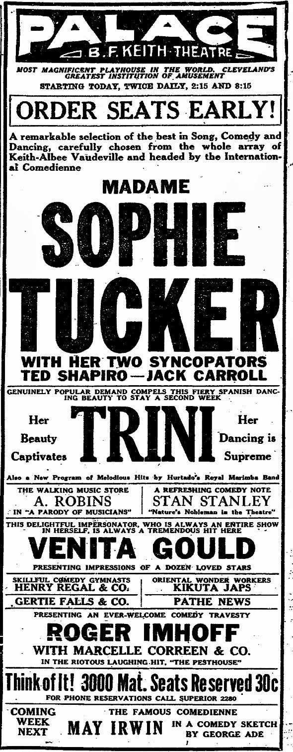 Madame Sophie Tucker at he Palace Theatre