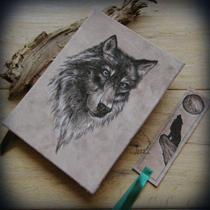 Wolf portrait book - handmade journal + bookmark by Dark-Lioncourt.deviantart.com on @DeviantArt