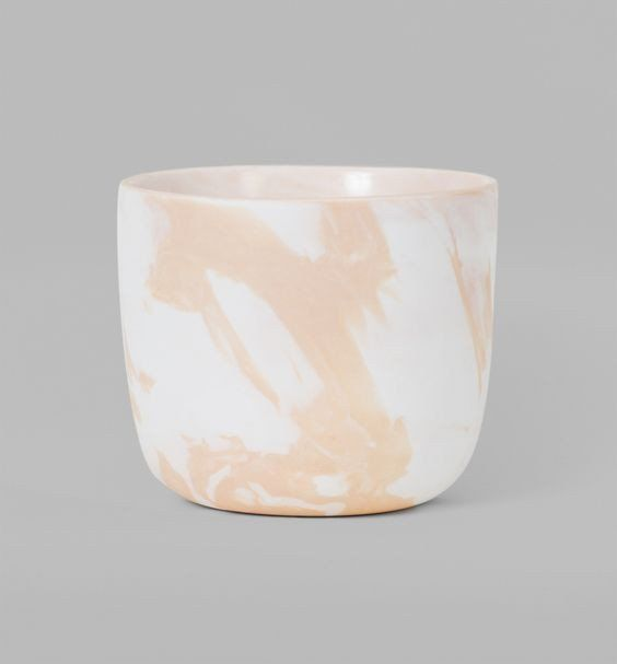 Peach Whip marble styled porcelain with a matt finish exterior and high gloss glaze interior. Designed to fit a standard size potted plant perfectly, no hole in the planter base... just put plastic plant pot straight in!