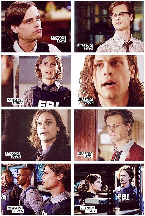 Spencer Reid (Matthew Gray Gubler) throughout the seasons of Criminal Minds. Hm.... 3,6,7