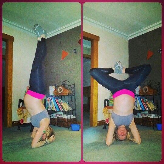 Yoga headstand, prenatal, 28 weeks pregnant. @littlehealthyhomestead