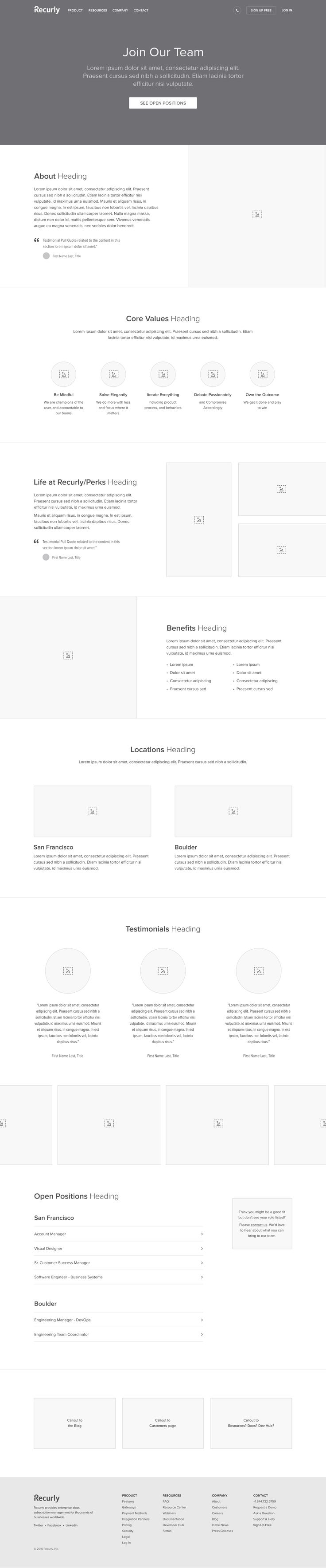 Recurly careers wireframe