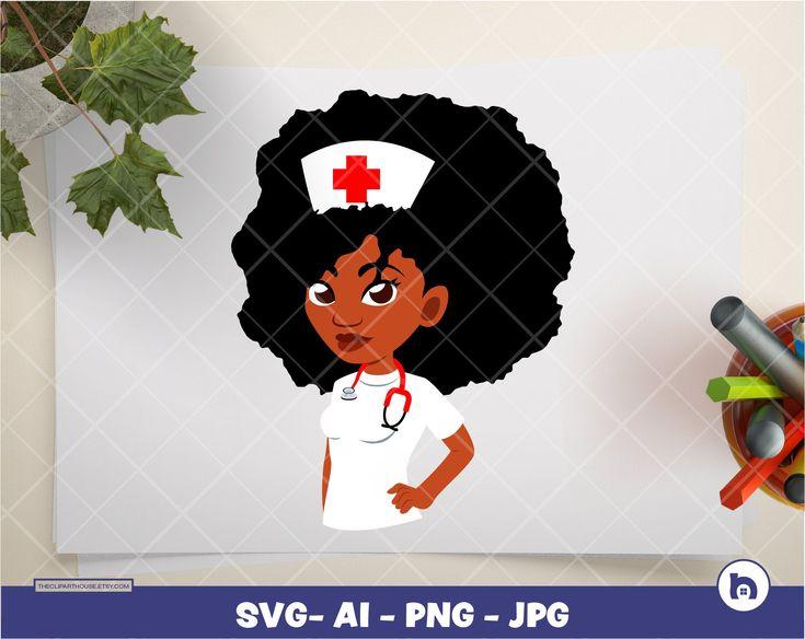 Afro nurse 5 digital png ai svg jpg instant download