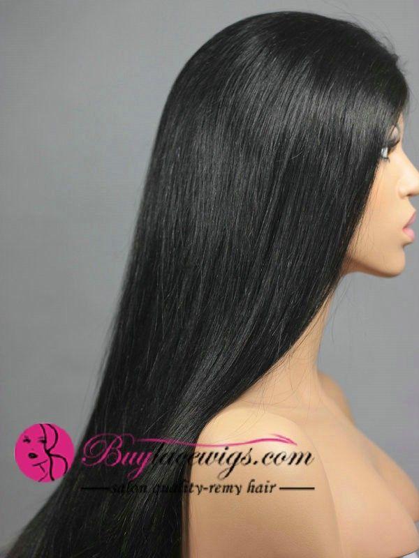 24 Inch #1 Silky Straight U Part Black Wigs