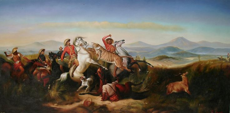 For sale | The Hunting, repro of Raden Saleh, oil on canvas, 150 x 300 cm, price : Call