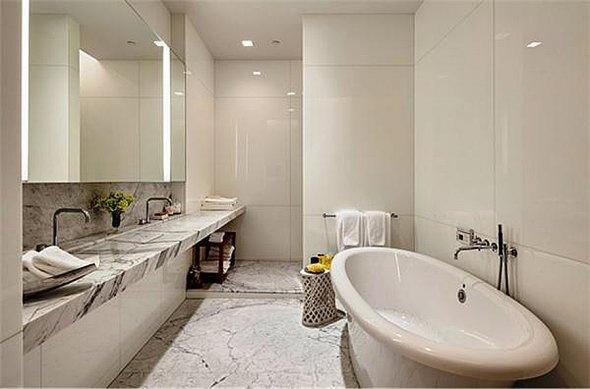 Marble bathroom with heated floors