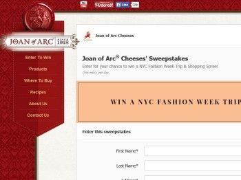 "The Saputo Cheese USA Inc. Joan Of Arc ""NYC Fashion Week Trip"" Sweepstakes"