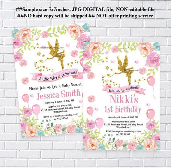 Fairy Invitation Girl Birthday Party Fairy Baby Shower Gold