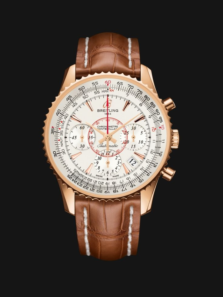 Montbrillant 01 watch by Breitling - vintage style rose gold case with white silver dial and golden brown crocodile strap