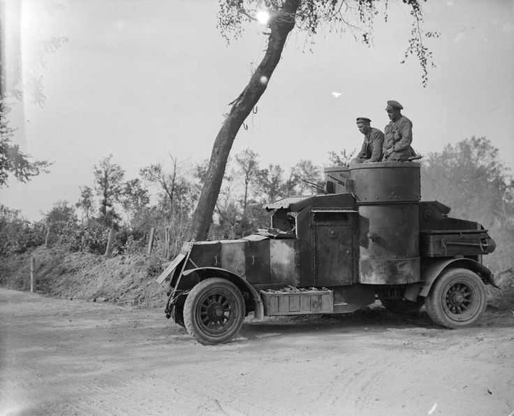 MINISTRY INFORMATION FIRST WORLD WAR OFFICIAL COLLECTION (Q 7035)   Second Battles of the Somme. An armoured car about to start on a reconnaissance. Near Biefvillers. 25 August 1918.