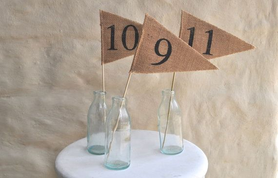 TABLE NUMBERS 110 Hessian Burlap Table by collectingfeathers, $40.00
