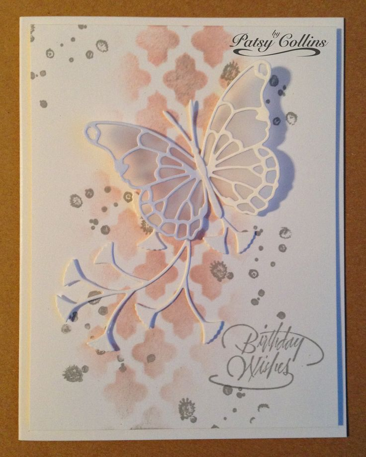 """By Patsy Collins. Sponge through only part of a stencil. (I used """"Lattice"""" by Heidi Swapp/Pink Paislee.) Stamp sentiment. Add splotches (stamp from """"French Foliage"""" by Stampin' Up). Add die-cuts. (I used """"Vivienne Butterfly"""" and """"Flutter Vine,"""" both by Memory Box.)"""
