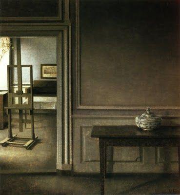 Vilhelm Hammershøi (1864-1916) Danish Painter ~   Interior with Easel and Punch Bowl, Strandgade 30, 1907