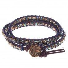 Berry Leather Triple Wrapit Loom Bracelet