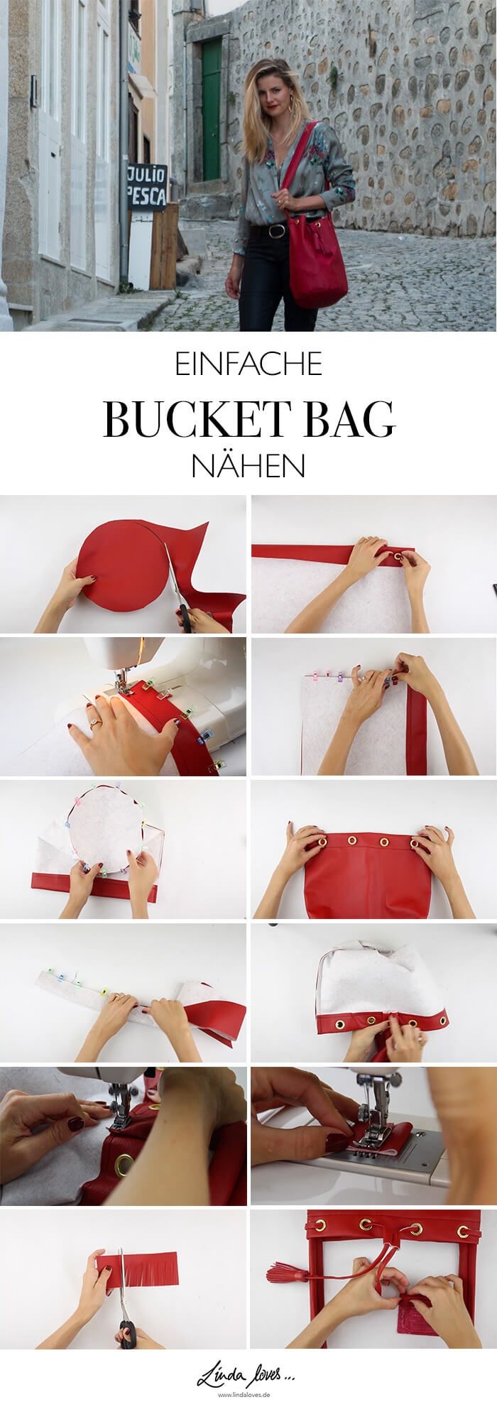 DIY Anleitung rote Bucket Bag naehen - Mode Do it yourself Blog