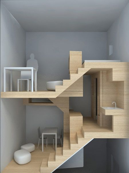 split level design - site in another language, but I love the concept of a small living space.